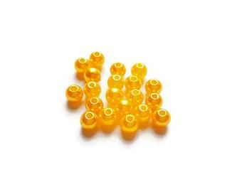 Beads yellow 6mm x 20