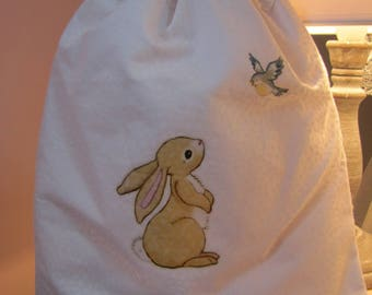 """Tenderness"" - rabbit and bird - pouch"