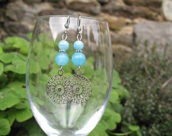 Filigree mandala and aquamarine beads earrings