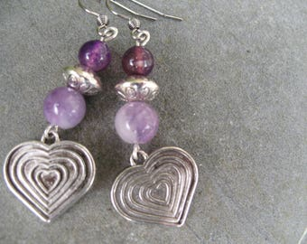 Purple agate earrings heart earrings