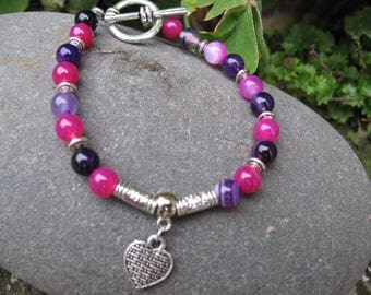 Pink and purple agate Beads Bracelet