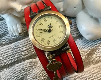 Ladies one size red leather watch strap