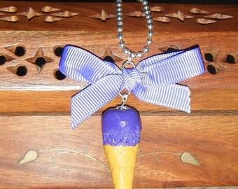 """Ice cream cone necklace """"Purple"""""""
