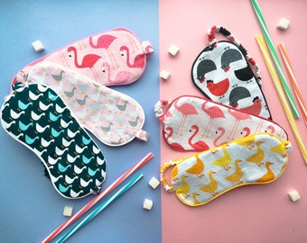 Sleep mask, eyes mask, pink flamingo, ducks, chiken