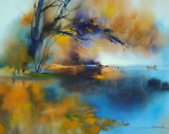 "Landscape watercolor painting ""late night on the pond, everything seems"" frozen"