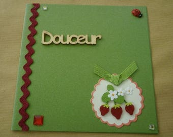 "Double square card, green color, message ""sweetness"" + matching envelope"