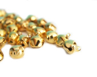 Set of 2 charms small brass bells