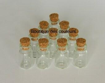 SET of 10 mini bottles bottles 18x10mm VIALS