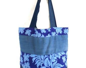 Beach bag, Tote, denim fabric and printed