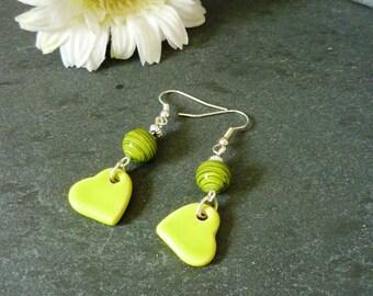 Lime green heart earrings