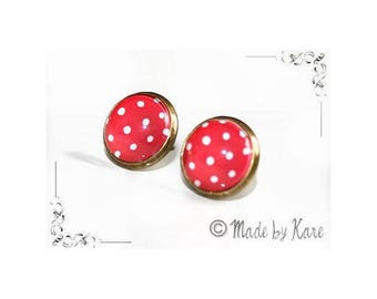 Romantic Vintage red Cabochon chips dot earrings