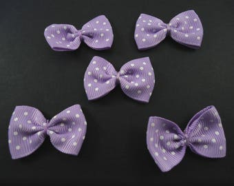5 lilac bows with dots to stick or sew