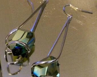 Iridescent Stone Silver Dangle Earrings