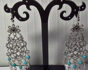 Drops and turquoise filigree earrings silver