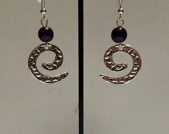 Genuine purple Hematite and hammered spiral earrings