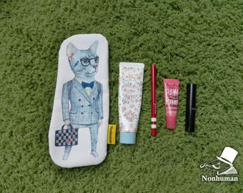 Cat 1 / Pencil Case / pencil pouch / fish /  illustration / Storage bag