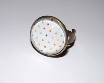 2 cm, colorful polka dot glass cabochon Adjustable ring