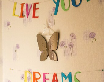 "Colorful decorative ""Live your Dreams"" banner"