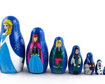 Matryoshka Frozen Characters Russian Nesting Dolls 7 pieces