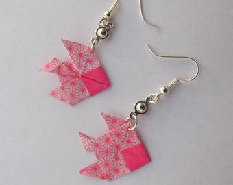 Earrings with silver ear hooks, small round dot charm and pink paper origami fish