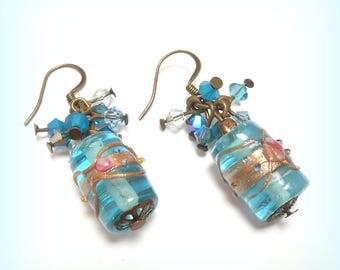"""""""Pink sky"""" Venetian glass bead earrings"""