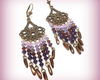 "Earrings Crystal and bronze ""Crystal purple Farandoles!"""