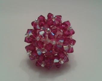 Ring Rose Fuchsia Swarovski Crystal beads