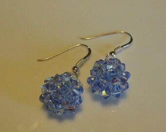 HAND made blue ball Light Sapphire Swarovski Crystal beaded earrings