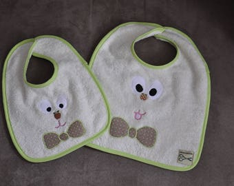 Set of two bibs ecru gribouille and bow tie