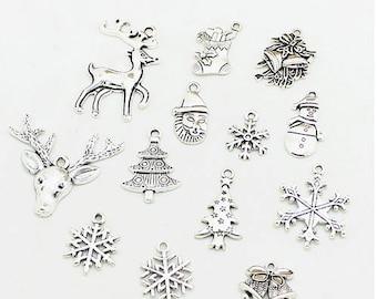Set of 20 charms silver decor Christmas