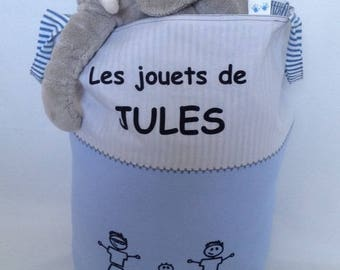 Blue and beige toys with handles bag