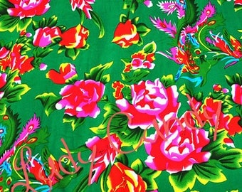 2 m fabric Chinese 145 x 200 cm / shades of green floral / sewing #7101