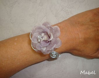 Flower bracelet organza grey, aluminium silver wire, wedding, vacation, summer,