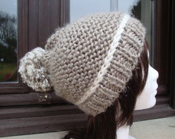 Hat, big Pompom, taupe and ecru, warm and soft