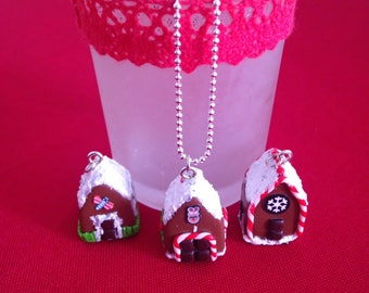 """Necklace fimo """"collection"""" Christmas cottage ;)"""