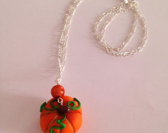 "Necklace polymer clay Halloween ""pumpkin"" collection"