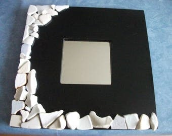 Mirror (10 cm x 10 cm) black frame with plates, glass and tiles 25.5 cm x 25.5 cm