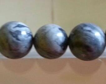 5 beads of gray Jasper and 8mm diameter, hole 1 mm