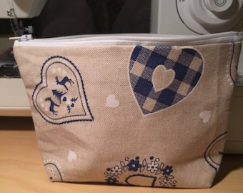 "Collection Valentine's day: handmade zippered pouch ""Heart of Naples"""