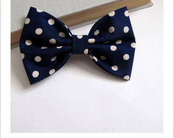 Bow tie and Navy 2 in 1 blue hair clip with polka dots