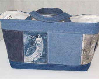 Sac Cabanel en jean recyclé, BELLES DAMES,  doublé coton écru avec poche
