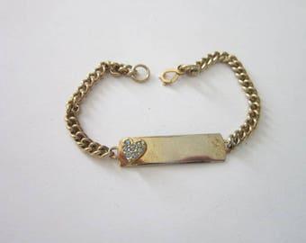 Vintage Gold Tone ID Bracelet with Rhinestone Heart