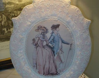 Picture Locket pastel Shabby Chic pink and white lace