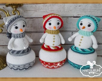 Box snowman, toy in Amigurumi crochet