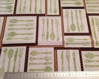 Fabric fat quarter-Dinnerware-Cutlery-Kitchen-Utensils-Sewing-100% Cotton