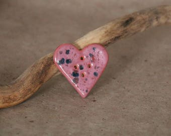 Ceramic button heart - large - pink enamel effect