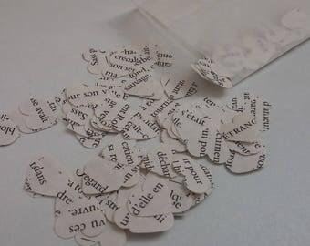Set of confetti hearts paper books.
