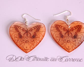 Earrings heart and butterfly, black and orange