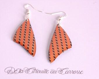 Two-tone, black and orange earrings