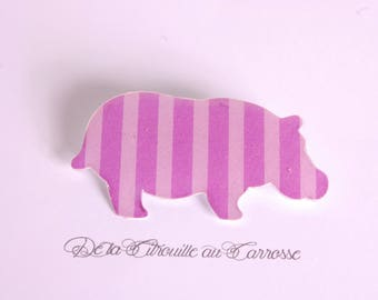 Hippo with stripes, purple and purple brooch